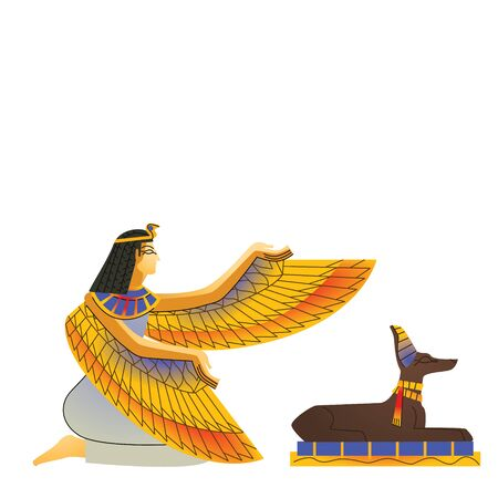 Ancient Egypt wall art or mural element cartoon vector. Monumental painting Egyptian culture symbols, ancient gods, Anubis, Isis or Nephthys with human and animal figures, isolated on white