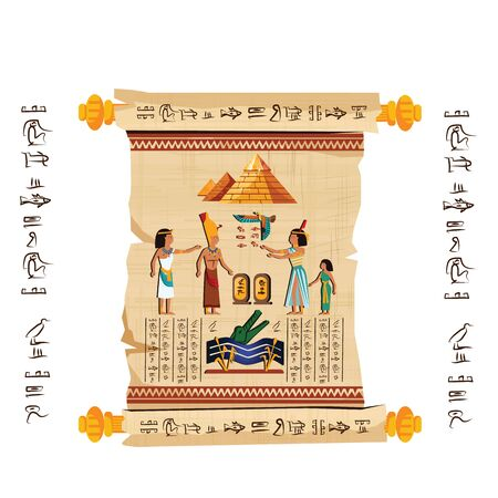 Ancient Egypt papyrus scroll with wooden rods cartoon vector. Ancient paper with hieroglyphs and Egyptian culture religious symbols, ancient gods, pyramids and human figures, isolated on white Banque d'images - 132349289