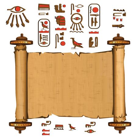 Ancient Egypt papyrus scroll with wooden rods cartoon vector. Ancient paper with hieroglyphs and Egyptian culture religious symbols, ancient gods, sacred bird, isolated manuscript on white background  イラスト・ベクター素材