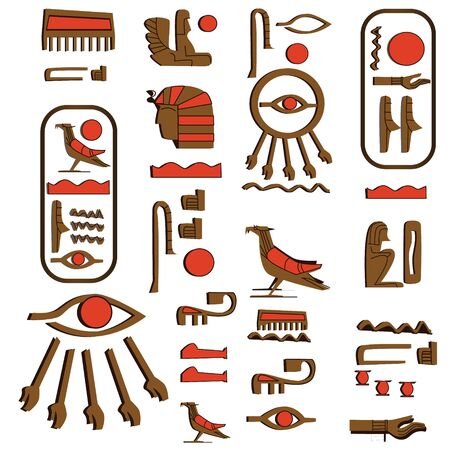 Ancient Egypt hieroglyphs cartoon vector collection. Egyptian culture symbols, pharaoh, sacred bird falcon and eye of Horus or Ra, wadjet isolated on a white background Banque d'images - 131876192