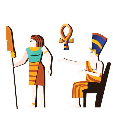 Ancient Egypt wall art or mural element cartoon vector. Ancient monumental painting with Egyptian culture symbols, pharaoh sitting on throne and armed man, isolated on white background