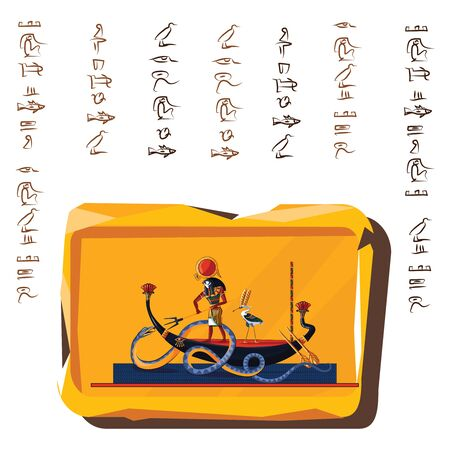 Ancient Egypt clay or stone plate cartoon vector with hieroglyphs and Egyptian culture religious symbols, Ra, sun god at night sails in boat on underground river and fights with chaos god Apophis