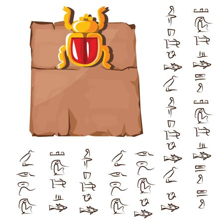 Ancient Egypt papyrus with scarab beetle cartoon vector illustration. Ancient paper with hieroglyphs, storing information, Egyptian culture religious symbol with sun god isolated on white background