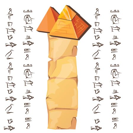 Ancient Egypt papyrus part with pyramid silhouette cartoon vector illustration. Ancient paper with hieroglyphs for storing information, Egyptian culture religious symbols, isolated on white background