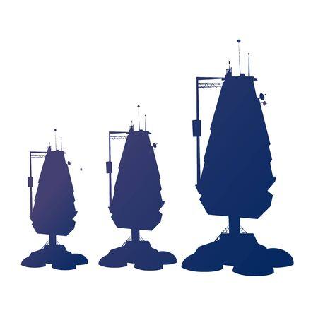 Spaceship silhouettes vector cartoon illustration. Futuristic rocket, sci-fi construction, space exploration shuttle isolated on white background Ilustração