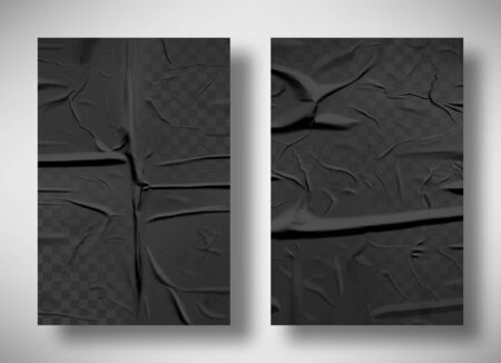 Black bad glued paper realistic vector illustration. Set of wet wrinkled and creased paper sheets with crumpled texture, blank posters glued to street wall or advertising column, mock up for design Иллюстрация