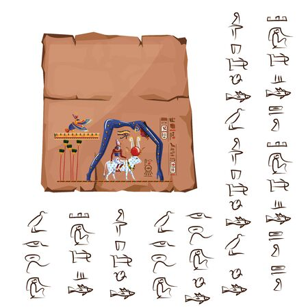 Ancient Egypt papyrus or stone cartoon vector with hieroglyphs and Egyptian culture religious symbols, Ra sits on cow back, over it in form of night sky goddess Nut, Ra leaving for sky legend Banque d'images - 129268451