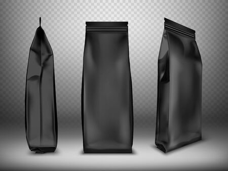 Black blank plastic or foil pack realistic vector. Bag or pouch for snacks, sweets and coffee, front and side view, illustrations isolated on transparent background, mock up for packaging design