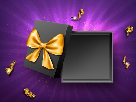 Open gift black box with golden ribbon bow top view realistic vector. Empty present box on purple background with gold confetti or spiral twisted tinsel., birthday, New Year or Christmas design Illustration