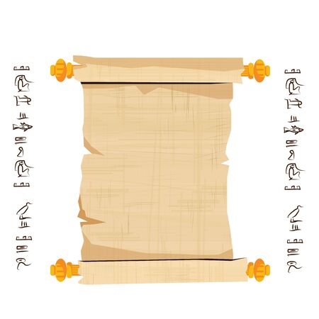 Ancient Egypt papyrus scroll with wooden rods cartoon vector illustration. Egyptian culture symbol, blank unfolded ancient paper to store information with wooden sticks, isolated on white background Banque d'images - 131876206
