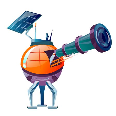 Space planet colonization vector cartoon illustration. Futuristic technology, sci-fi construction, base with solar panels and optical telescope for space exploration and cosmic observations