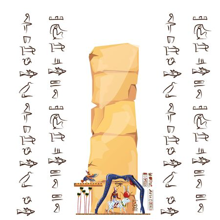 Ancient Egypt papyrus or stone cartoon vector with hieroglyphs and Egyptian culture religious symbols, Ra sits on cow back, over it in form of night sky goddess Nut, Ra leaving for sky legend Archivio Fotografico - 131874676