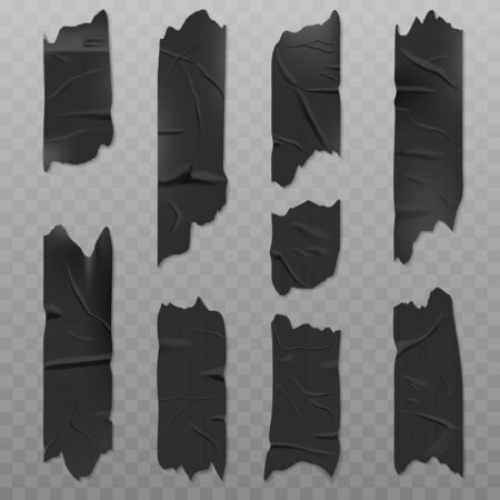 Black duct adhesive tape realistic vector illustration isolated on a transparent background. Badly glued with wrinkles, torn pieces of sticky scotch
