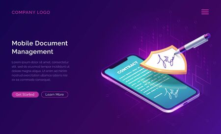 Mobile document manager business concept vector isometric illustration. Online signing of contract on digital smartphone screen, shield and stylus pen, purple landing web page for application
