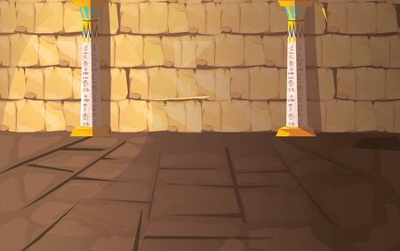 Ancient Egypt empty pharaoh tomb or temple room cartoon vector illustration. Egyptian pyramid interior with hieroglyphs on stone walls and white columns with oranment, background for game design