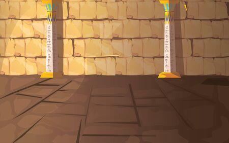 Tomba vuota del faraone dell'antico Egitto o illustrazione di vettore del fumetto della stanza del tempio. Interno della piramide egizia con geroglifici su pareti di pietra e colonne bianche con ornamenti, sfondo per il design del gioco Vettoriali