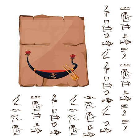 Ancient Egypt papyrus or stone column with boat Ra cartoon vector illustration. Ancient paper with hieroglyphs for storing information, Egyptian culture religious symbols, isolated on white background