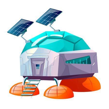 Space planet colonization vector cartoon illustration. Futuristic technology, sci-fi construction, space exploration base or colony building with solar panels, or alien spaceship Ilustração