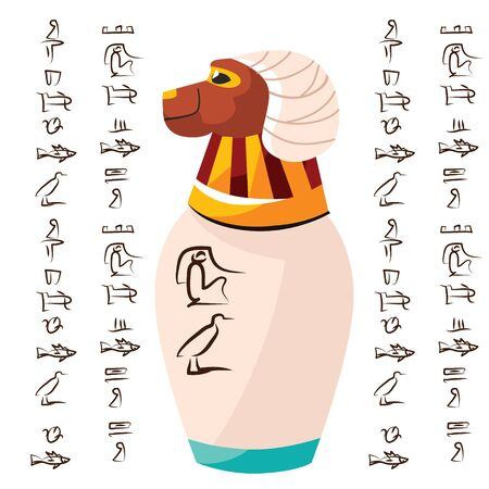 Ancient Egyptian ritual vase with ram head and hieroglyphs cartoons vector illustration. Decorative urn for sacrifice to god Khnum or storage of temple treasures, isolated on white background
