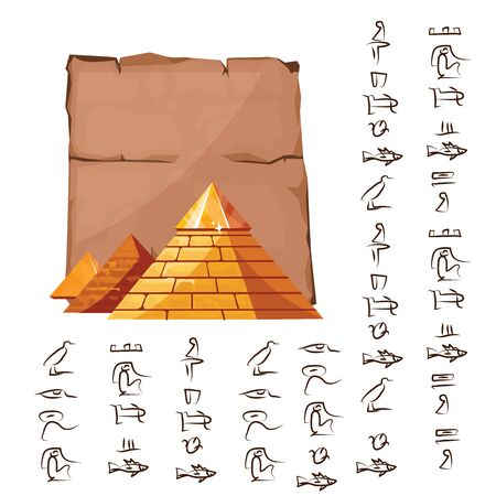 Ancient Egypt papyrus part with pyramid silhouette cartoon vector illustration. Ancient paper with hieroglyphs, storing information, Egyptian culture religious symbols, isolated on white background