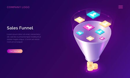 Sales funnel, isometric concept vector illustration. Marketing funnel with data drawn into it for analysis, optimization and sales generation, digital tool for profit growth. Template landing web page 일러스트