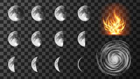 Weather meteo icons isolated realistic set vector illustration. Elements for weather forecast, cyclone with spiral clouds, different phases or stages of lunar eclipses, drought or fire hazard Çizim