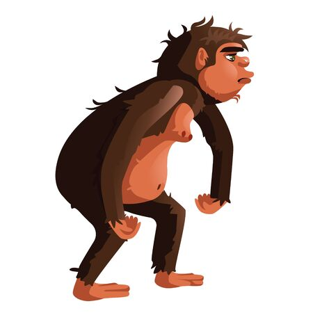 Ancient monkey, human ancestor cartoon vector illustration. Tailless great ape, primates, one of stages in Darwin evolutionary theory, isolated on white background