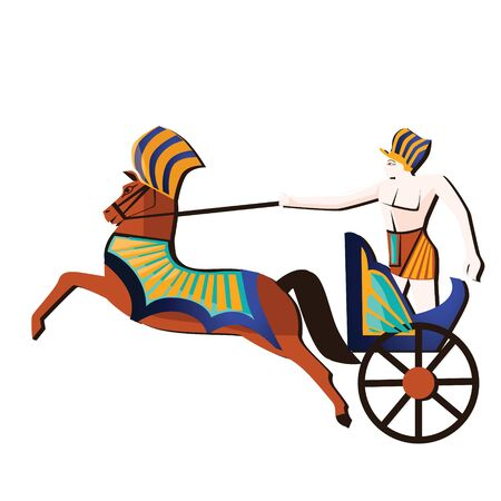 Ancient Egypt wall art or mural element cartoon vector. Monumental painting with Egyptian culture symbols, pharaoh or soldier racing in ancient chariot, isolated on white background
