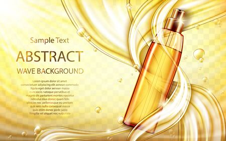 Cosmetic hair care oil realistic vector poster. Glass pump bottle with golden liquid inside, flowing streams or gold oil splashes, flying drops on yellow transparent wavy background. Natural cosmetics