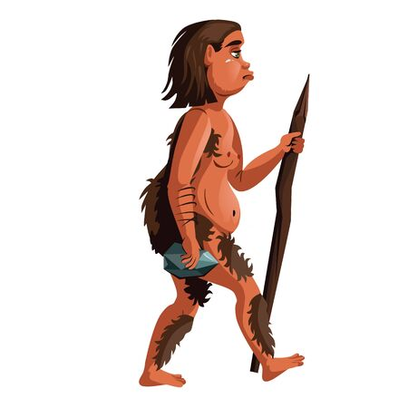 Ancient homo erectus or caveman, human ancestor cartoon vector illustration. Neanderthal with wooden stick and stone in hands, one of stages in Darwin evolutionary theory, isolated on white background