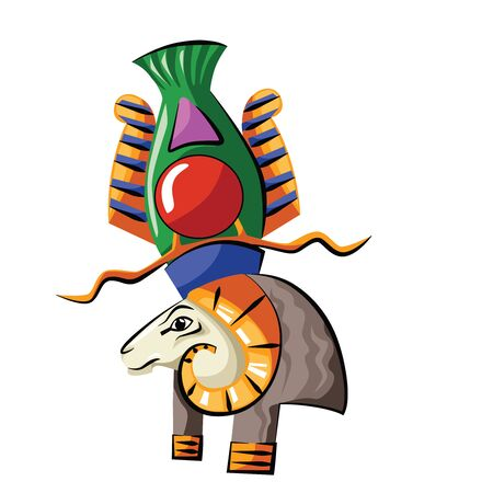 Ancient Egypt head of god source of Nile Khnum cartoon vector. Egyptian culture religious symbol, ram headed creator god with spiral-twisted horns isolated on white background