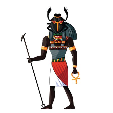 Ancient Egypt scarab-faced god Khepri cartoon vector. Egyptian culture religious symbols, rising or morning sun god with human figure and beetle head with sacred symbols in his hands 일러스트