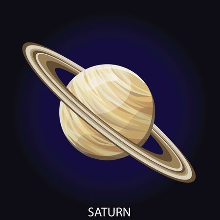 Planet Saturn 3D cartoon vector illustration. Spherical planet with illuminated surface, relief and gas rings isolated on dark blue cosmic background Çizim