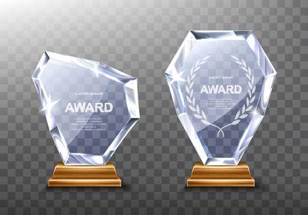 Glaspreis-Trophäe oder realistische Vektorgrafik des Gewinnerpreises. Transparente Kristallplatte oder Acryl-Diamantrahmen mit Lorbeerkranz auf Holzsockel, isolierte Vorderansicht mit Licht und Schatten