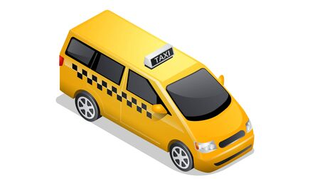 Isometric car icon isolated on white background. Vehicles for passenger transportation, yellow taxi mini van or checkered cab with shadow and highlights 向量圖像