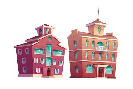 Illustration de jeu de vecteur de dessin animé de bâtiment rétro urbain. Vieux bâtiments résidentiels et gouvernementaux à plusieurs étages en brique rouge, isolés sur fond blanc