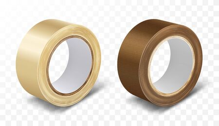 Transparent and brown duct roll adhesive tape realistic vector illustration isolated on transparent background. Office and household supplies, construction sellotape