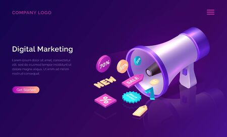 Digital marketing, isometric concept vector illustration. Big megaphone or loudspeaker and 3D sale and discount promo icons, landing web page of advertising agency to increase sales Ultraviolet banner