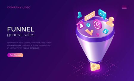 Sales funnel, isometric concept vector illustration. Marketing funnel with data drawn into it for analysis, optimization and sales generation, digital tool for profit growth. Template landing web page 向量圖像