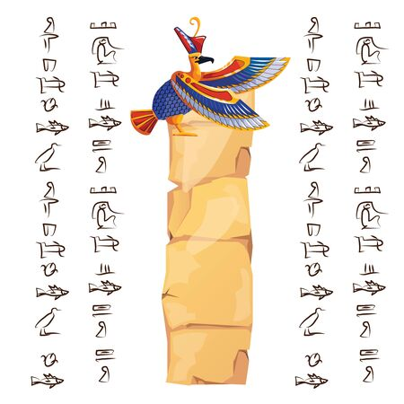 Ancient Egypt papyrus part or or stone column with sacred bird figure cartoon vector illustration. Egyptian culture symbol, blank unfolded ancient paper with falcon and hieroglyphs, isolated on white