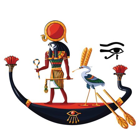 Ancient Egypt sun god Ra or Horus in wooden boat cartoon vector illustration. Egyptian culture religious symbol, ancient god-falcon in night or day boat, sacred ibis bird, isolated on white background Illustration