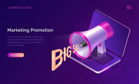 Marketing promotion, isometric concept vector illustration. Big megaphone or loudspeaker with words Big sales flying out and open laptop, landing web page of advertising agency. Ultraviolet banner