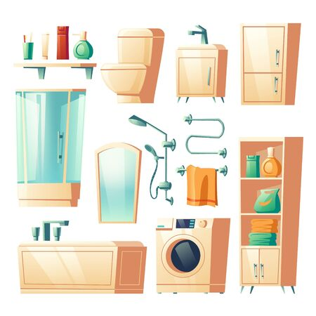Modern bathroom furniture cartoon vector set illustrations. Bathtub, shower, washer, sink and toilet, racks and shelf for accessories, heated towel rail, interior mirror, isolated on white background