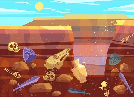 Fouilles archéologiques, illustration vectorielle de dessin animé. Paysage désertique avec dunes de sable, soleil éclatant et fosse creusée. Sol souterrain contenant des fossiles et des objets anciens, coupe transversale