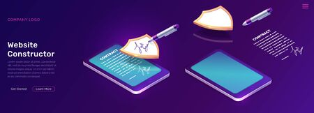 Mobile document manager business concept vector isometric illustration Online signing of contract on digital smartphone or tablet screen, shield and stylus pen, purple landing web page for application Stock Illustratie