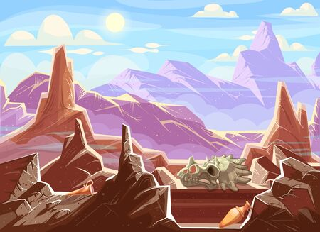 Mountain landscape with archaeological fossils, cartoon vector illustration. Red-brown mountains under blue sky, among fragments of rocks ancient artifacts, ceramic pitchers and dinosaur skull