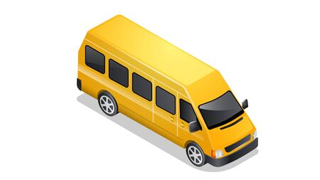 Isometric car icon isolated on white background. Vehicles for passenger transportation, yellow taxi mini van with shadow and highlights Illusztráció