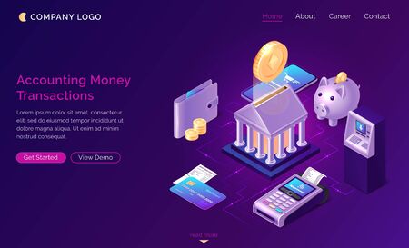 Accounting money transactions, isometric finance concept vector. Bank building with gold coin, piggy bank, payment terminal, credit card icons with connections, finance service website landing page Stock Illustratie