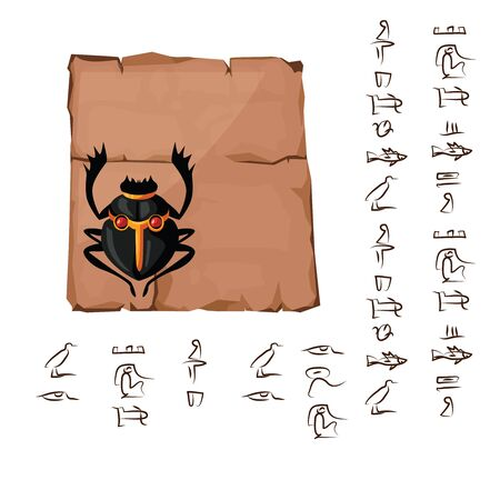 Ancient Egypt papyrus part or or stone column with sacred scarab beetle cartoon vector illustration. Egyptian culture symbol, blank unfolded ancient paper with ibis and hieroglyphs, isolated on white Ilustração