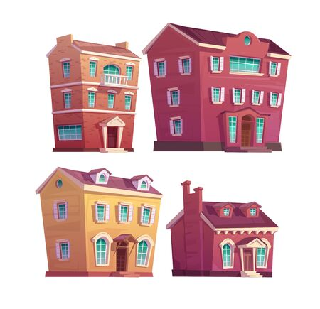 Urban retro building cartoon vector set illustration. Old residential single and multi-storey buildings from concrete and red brick, isolated on white background Çizim